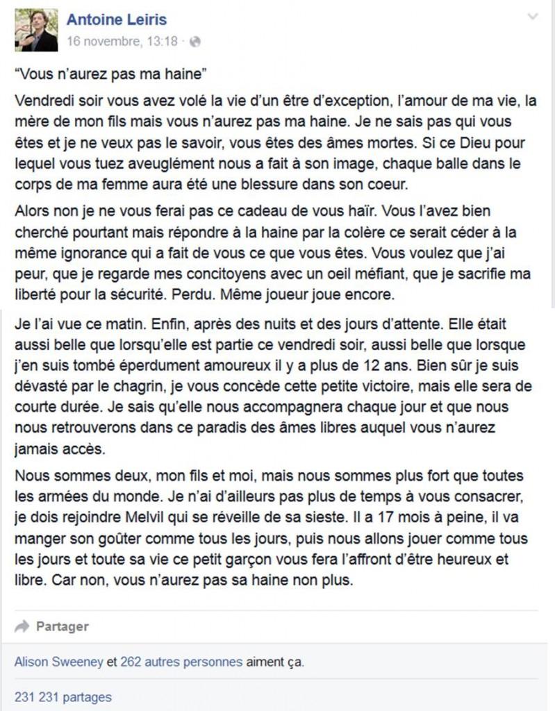 Lettre Antoine Leiris